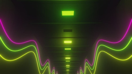 3D hallway walls with wavy lines neon light