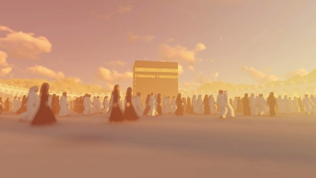 3D Islamists crowd walking inside Mecca