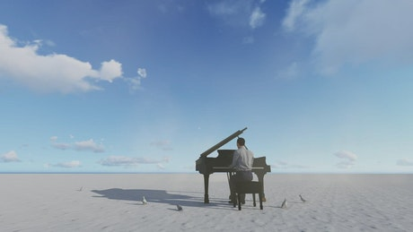 3d man playing piano with birds on a desert plane