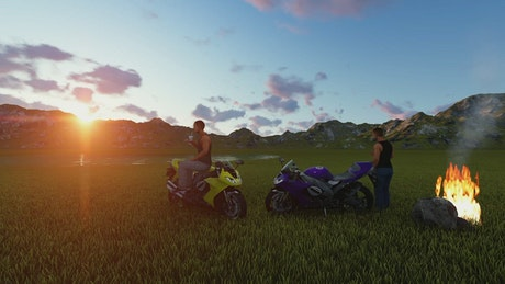 3D motorcyclists watching the sunset outside