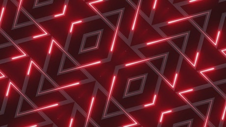 3D moving surface with red triangles lights
