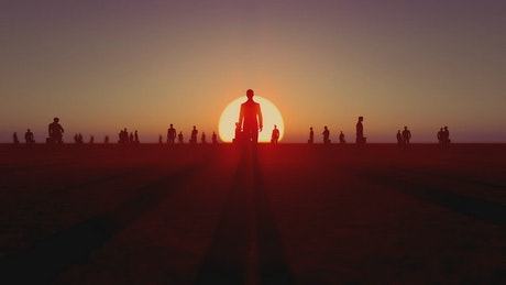 3D people spread out on a plain at sunset