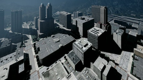 3D render with large buildings seen from above