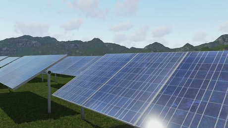3D rendering of a plain covered with solar panels