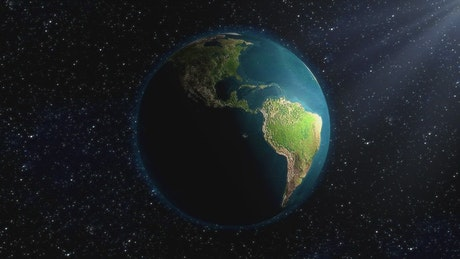 3D rendering of planet earth rotating in space