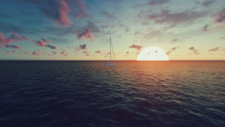3D sailboat sailing in the sea in a sunset
