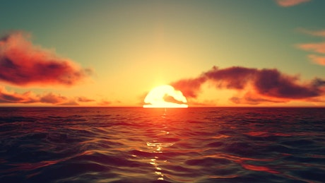 3D simulation of a red sunset at sea