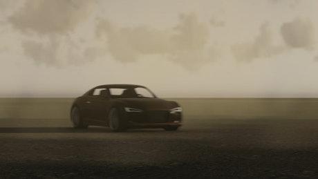 3D sports car racing on a flat land