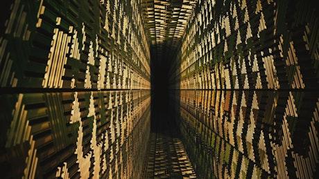 3D tour of a narrow corridor with golden walls