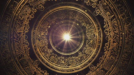3D tunnel of ornate golden rings with a light