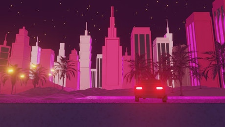 80s retro style neon night skyline with sunrise