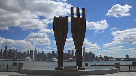 911 Memorial and New York skyline