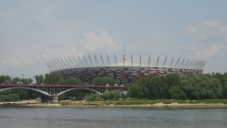 A bridge and a stadium landscape