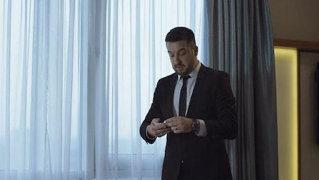 A businessman practicing a speech
