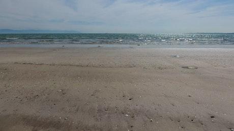 A deserted beach and the ocean