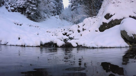 A dive into the snowy mountain lake
