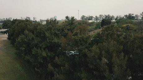 A drone flying near a freeway