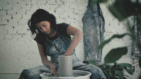 A female ceramic artist working