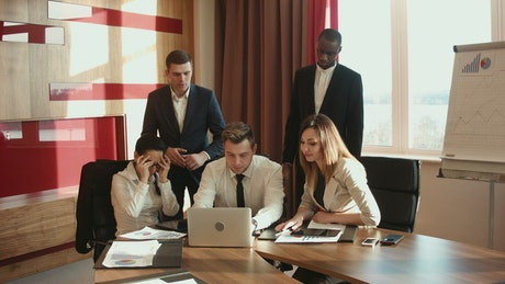 A frustrated group of businessmen