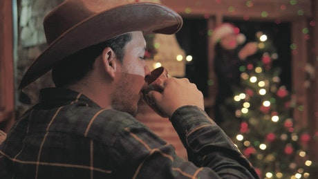 A man receives a Christmas gift