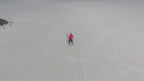 A man skiing in the snow