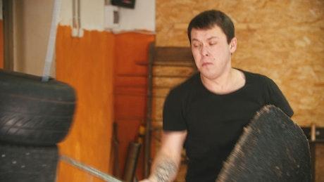 A man training sword fighting