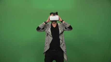 A man using a virtual reality headset