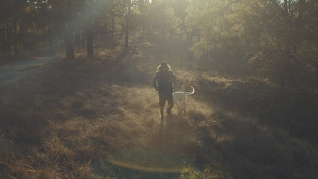 A man walking his dog in the morning
