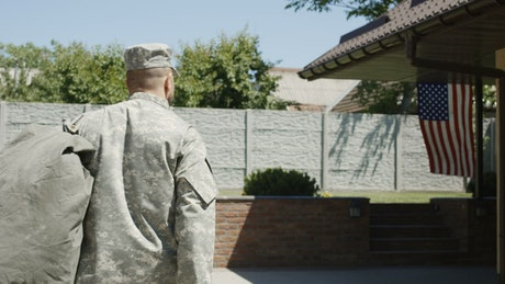 A military man returning to his family