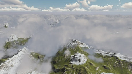 A mountainous area under the clouds