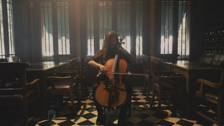 A musician playing the cello at a restaurant