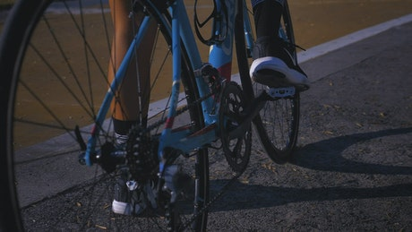 A person on a bike just before pedaling off