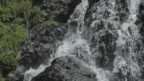 A rocky waterfall in the forest