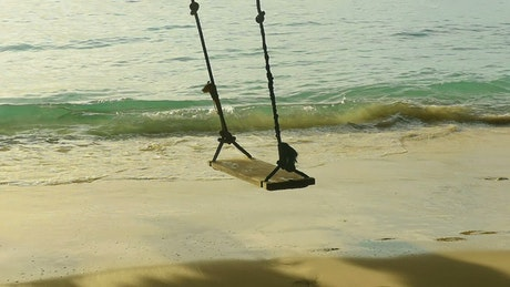A rope swing and the beach waves