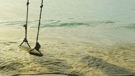 A rope swing at the beach
