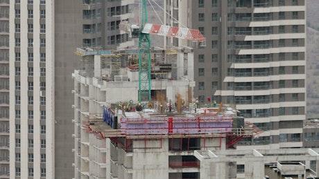 A skyscraper under construction time lapse