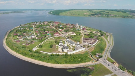 A small island with monastery and houses