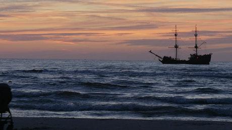 A vintage ship silhouette