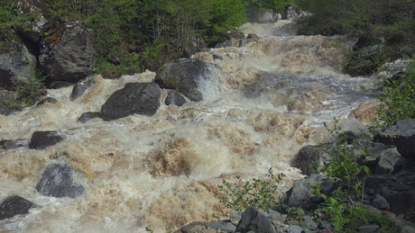 A wild river between rocks