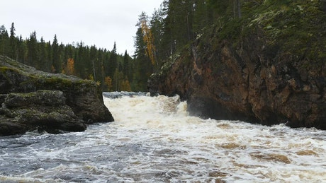 A wild river between the rocks