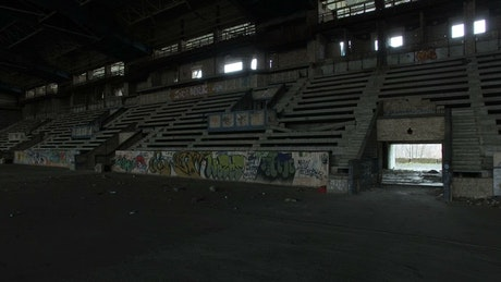 Abandoned arena and tribune