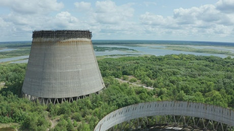 Abandoned cooling towers near Chernobyl