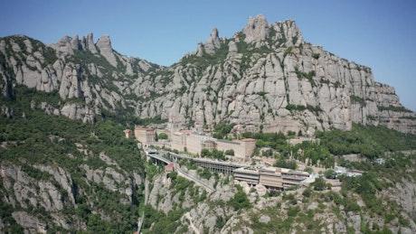 Abbey built into Montserrat Mountain