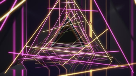 Abstract animation of neon triangles