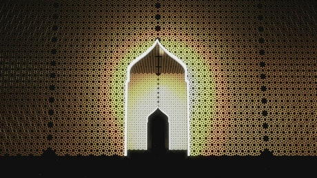 Abstract concept of doors with Islamic design