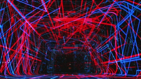 Abstract rectangular tunnel of neon lights