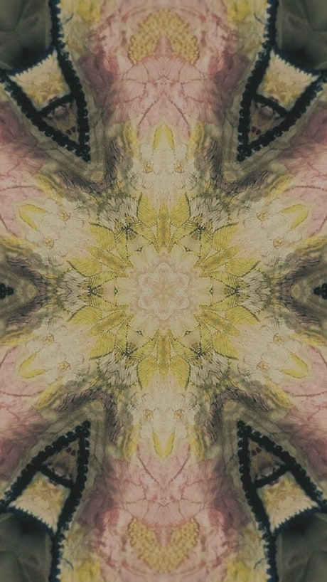 Abstract sequence of images in a kaleidoscope