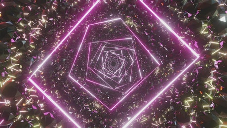 Abstract tunnel of crystals and purple neon lights