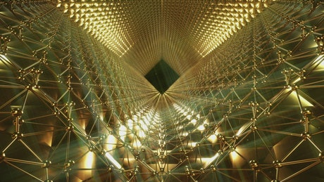 Abstract tunnel of golden figures patterns