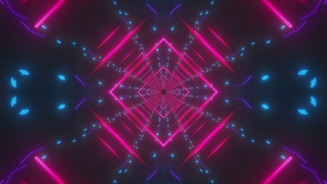 Abstract tunnel with pink, blue and violet lights